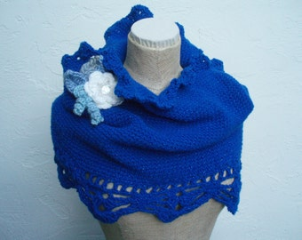 Neckwarmer , Cowl, with Flower in Beautiful Blue that Sparkles.