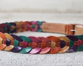 vintage 1980s multicolored colorful brown leather skinny belt - S/M