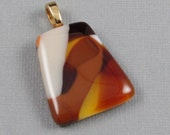 Amber Glass Pendant Chunky Fused Glass with Gold Plated Bail (125)