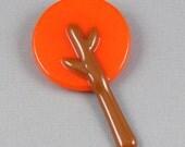 Orange Tree Brooch - Fused Glass Pin