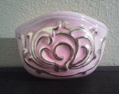 Pretty in Pink- Lovely , Bright Pink Wall Pocket with Gold Designs-Vintage Treasure
