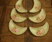Beautiful Shabby Chic-Set of 6-Lefton Bone China with Roses on Mint/Sage Colored Dish-French Country