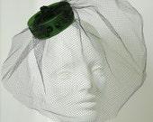 Emerald Green Mini Pill Box Hat With Veil