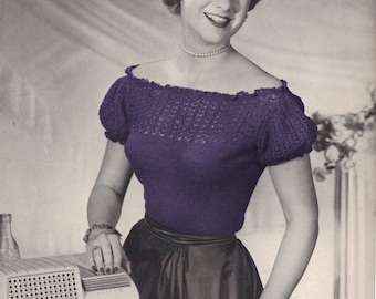 1940s Peasant Blouse with Lace Accents and Puff Sleeves - Knit pattern PDF 1302