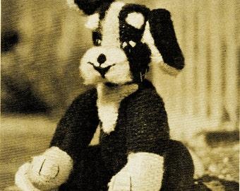 1950s Floppy Ear Puppy Dog Stuffed Animal - Knit pattern PDF 1100