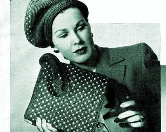 1940s Polka Dot Slouch Beret Hat and Hand Bag - Crochet patterns PDF 8060