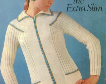 Zippered Front Sweater with Collar with Rib Knit for Slimming Effect 1960s - Knit pattern PDF 1768