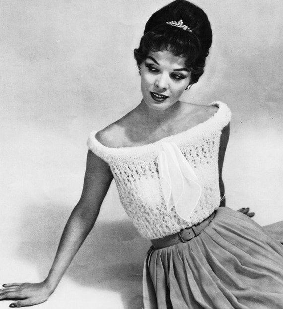 1950s Sexy Off the Shoulder Top - Knit pattern PDF 0851