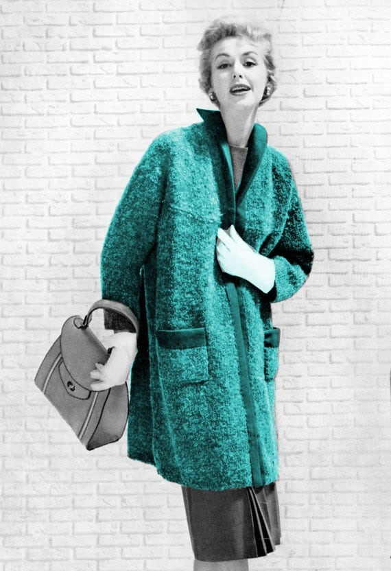 Sweater Coat Knitting Pattern : Items similar to 1950s Swing Coat Sweater- Knit pattern PDF 0859 on Etsy