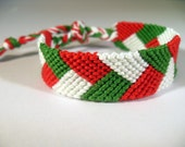 Red, White and Green Braided Friendship Bracelet - READY TO SHIP