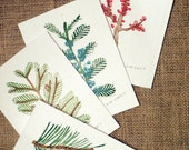 Set of 4 Holiday Woodcut Cards and Envelopes