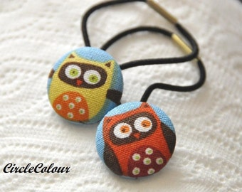 OWL Ponytail - Two Smart Owl Fabric Covered Button Ponytail - Black Elastic Hair Band - 2pc Set Hairties