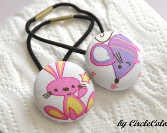 Animal Ponytail - Pink Bunny & Mouse Fabric Covered Button Ponytail - Black Elastic Hair Band - 2pc Set Hairties
