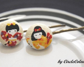 Japanese Lady Bobby Pin - Japanese Dancing Fabric Covered Button Hair Pin - Antique Bronze Bobby Pin