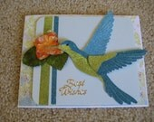 Hummingbird Best Wish Glitter Birthday Card