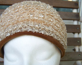 "1960s Bubble Toque Turban Style Hat // Honey Gold Raffia Mesh with Brown Velvet Trim Loni Exclusive // 21"" Circumference"