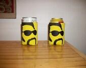 Yellow Moustache Guy Koozie set of 2