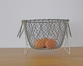 French egg basket vintage collapsible wirework