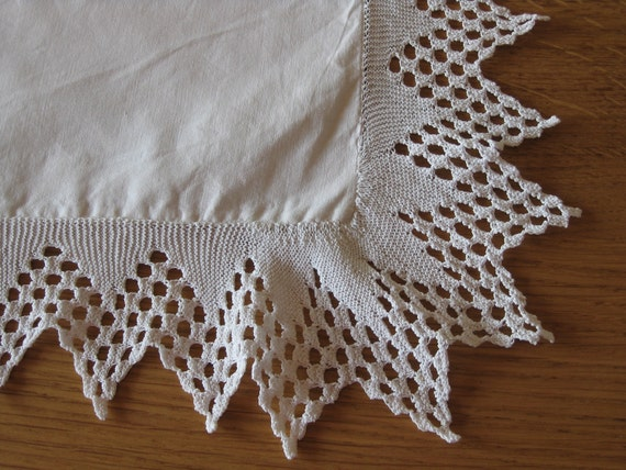 Pillow cases edged with hand knitted lace, pair of French linen cushion covers