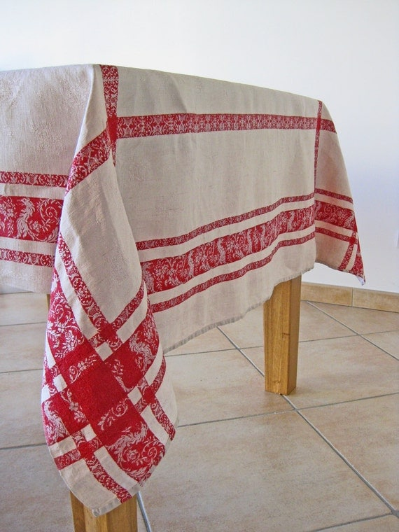 French tablecloth heavy linen damask honey and bright red