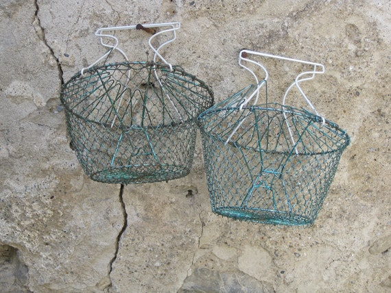 Pair French egg baskets vintage collapsible wirework