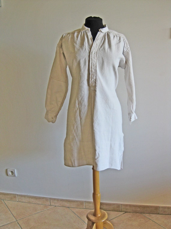 antique French hemp/linen homespun shirt or nightshirt