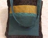 Tote Bag Boho Hippie Teenage Style Women's Tote Bag  Black Turquoise Lace & Gold Unique Gift