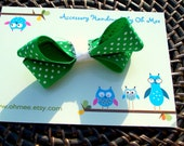 Ready to Ship Large Green and White Polka Dot Bow Ribbon Pony Tail Boutique Hair Clip Hairclip Accessory Easter Grosgrain