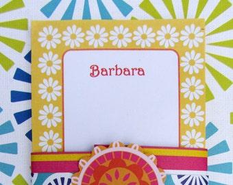 Happy Daisy (Hockadaisy)  Sunny Yellow Personalized Notepad