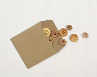 Small Brown Kraft Paper Envelopes/Bags, small size 9.5x9.5cm for Crafts, Packaging, Eco Friendly Scrap Booking - Set of 25