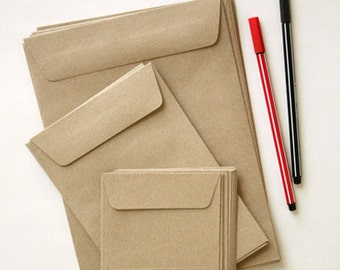 Set of Three Sizes Recycle Kraft Paper Envelopes, size A5, A6 and Small Bags for Crafts, Letterpress, Made from Recycled Paper - VALUE SET