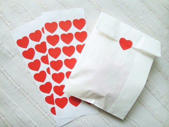 "Heart Stickers, Red Heart Stickers, Valentine's Heart, Size 1"" x 7/8""  inch, Set of 2 sheets or 42 hearts ( Last Set )"