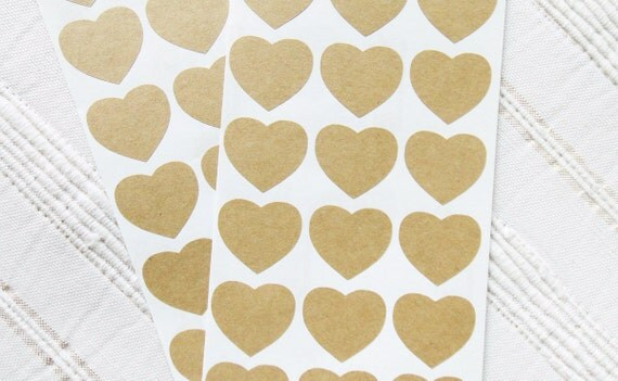 "Heart Stickers, Kraft Paper Stickers, Self Adhesive, Size 1"" x 7/8""  inch, Set of 2 sheets or 42 hearts"