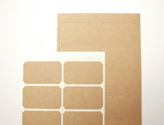 Rectangle Kraft Paper Stickers with Cut Corners, Kraft Rectangle Label Stickers, Size 45x25 mm, Set of 2 sheets or 28 rectangles