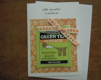 Handmade Lime Green and Peach Get Well Greeting Card w/ Green Tea and  Peach Tea Bag and ribbon bow