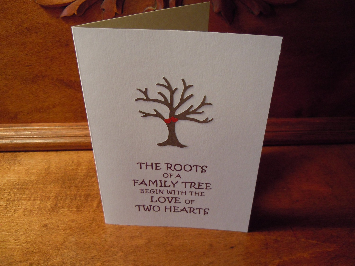 Handmade 1st Wedding Anniversary Greeting Card with tree and
