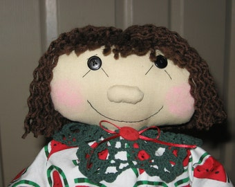Country Style Handmade Cloth Ragdoll wearing a Watermelon Print by Sew Practical, Mom and Pop Craft