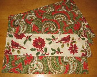 Set of 4 Cardinal, Poinsettia, Holly and Christmas Swirl Prints Placemats Place Mats