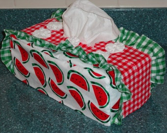 Watermelon and checks Standard Tissue Box Cover by Sew Practical, Mom and Pop Craft