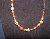Dark copper tone chain with wooden beads and charms (66)
