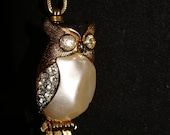 Gold tone chain with beaded links and OWL & FEATHER (101)