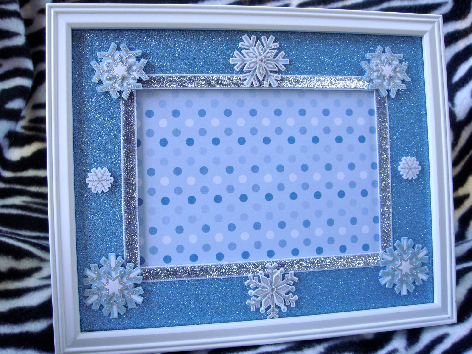 Blue Christmas 8x10 Snowflake Themed Picture Frame With 5x7