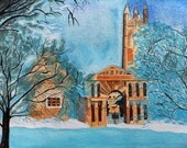 """PRINT Watercolor Painting, Oxford England, Winter, College Building and Bare Trees, Snowy and Blue 10x8"""""""