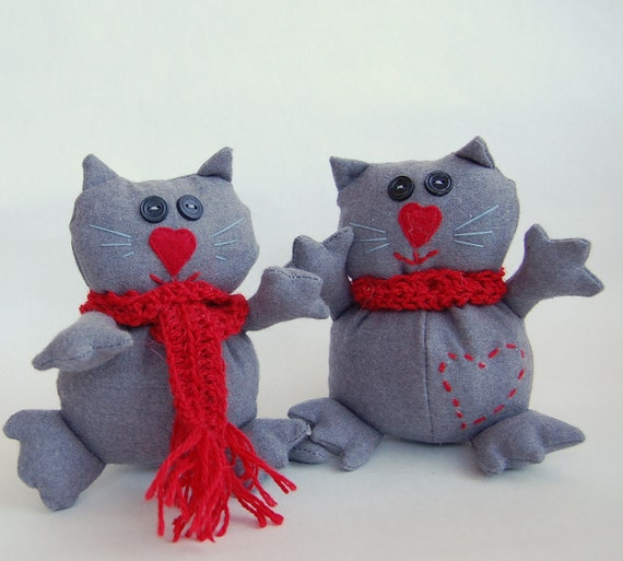 Cats soft toy Handmade Pair Grey  toy with a red heart