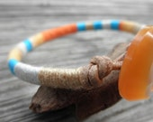 "Embroidery Thread and Leather Bracelet - ""La Playa"""