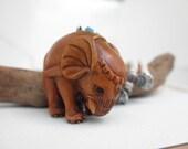 "Hand Carved Wooden Elephant Necklace - ""Moksha"""