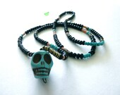 "Beaded Turquoise Skull Necklace - Calaca Series- ""Gabriel's Song"""