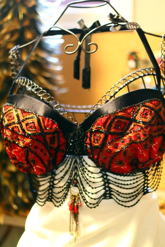 OOAK Steam punk, Edwardian, tribal fusion, belly dancing, Burlesque Red and back Beaded Bra top