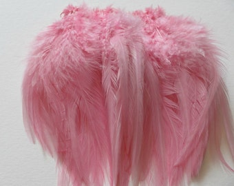 Strung Rooster Saddle Hackle - Light Pink