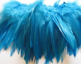Rooster Saddle Hackle - Silver Doctor Blue